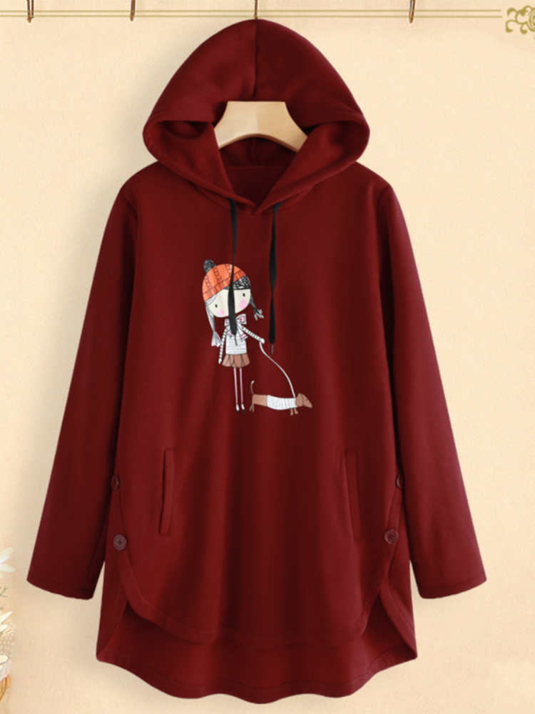 Cartoon Print Irregular Hem Hooded Sweatshirt with Pockets