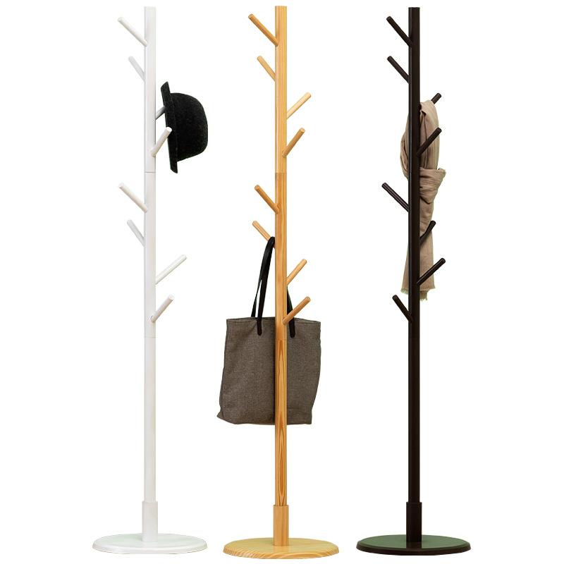 10 Hooks Solid Wood Jacket Coat Rack Stand Tripod Base for Plant Flower Standing