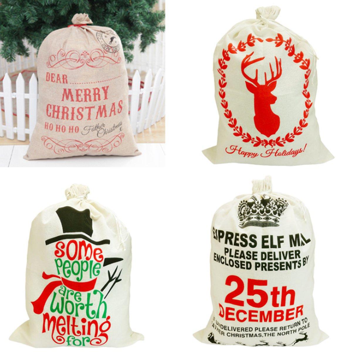 Рождественский подарок Санта мешок Мешочек для хранения чулок Мешковина Сумка Пучок рождественские украшения