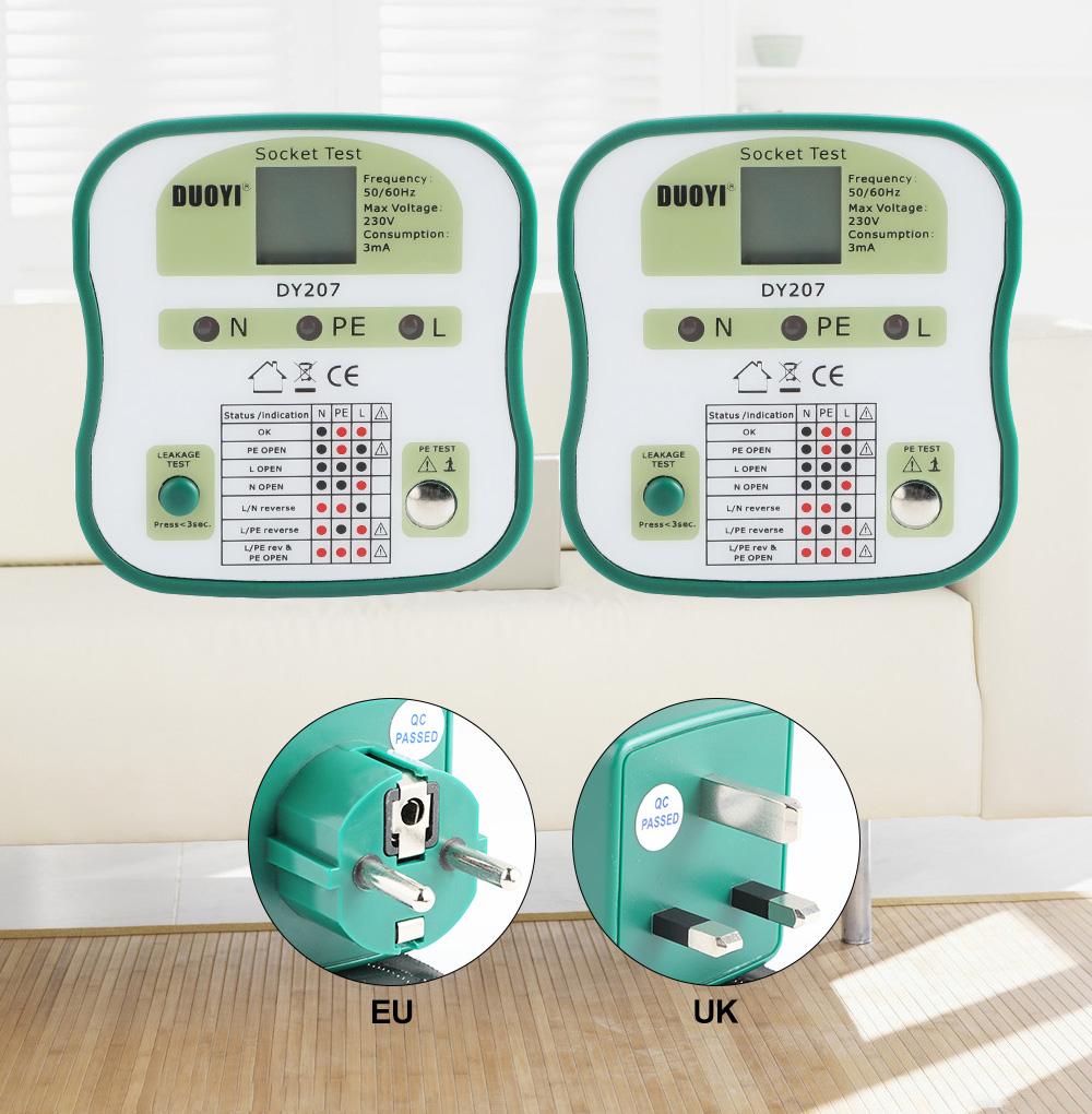 DUOYI DY207 Digital Display Socket Tester Power RCD Test Detector Wall Sockets Circuit Breaker Finder Analysis EU/US/UK