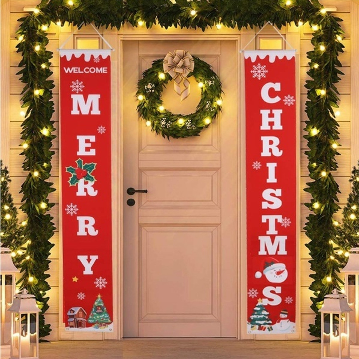 Outdoor Porch Decoration Welcome Sign Christmas Door Banner 71 x 12 Inch for Home Office School Class Yard Wall Display Xmas Holiday Gift Merry Christmas Large Indoor Red Party D/écor Flag