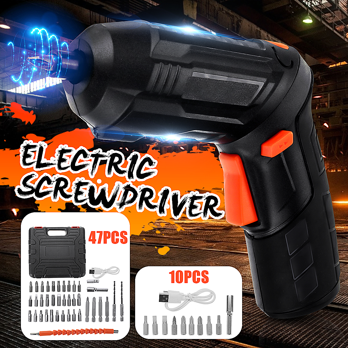 DC3.6V 1300mAh Mini Electric Screwdriver Drill Lithium Cordless Power Screw Driver Tool With Drill Bits