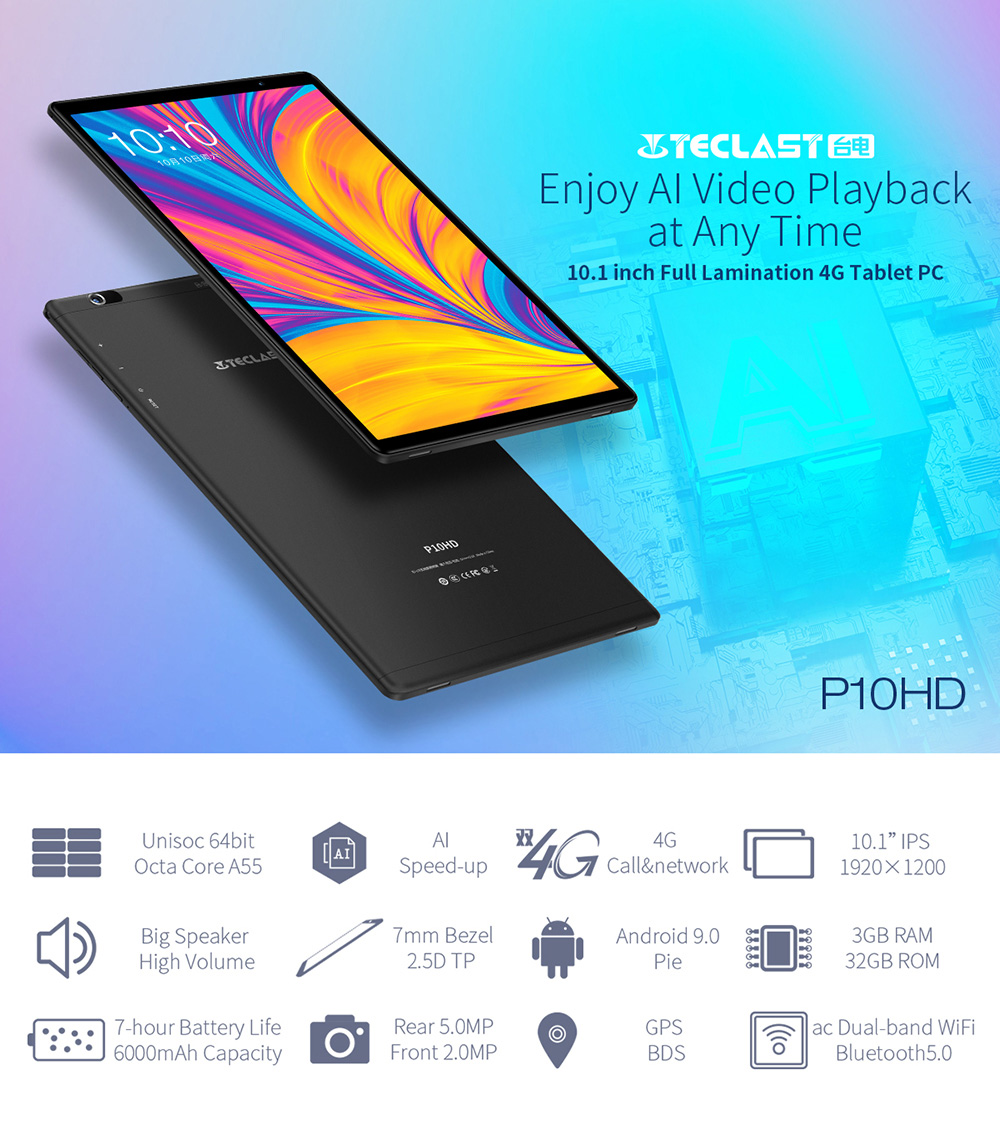 Teclast P10HD SC9863A Octa Core 3GB RAM 32GB ROM 4G LTE 1920*1200 FHD GPS Android 9.0 10.1 Inch Tablet PC