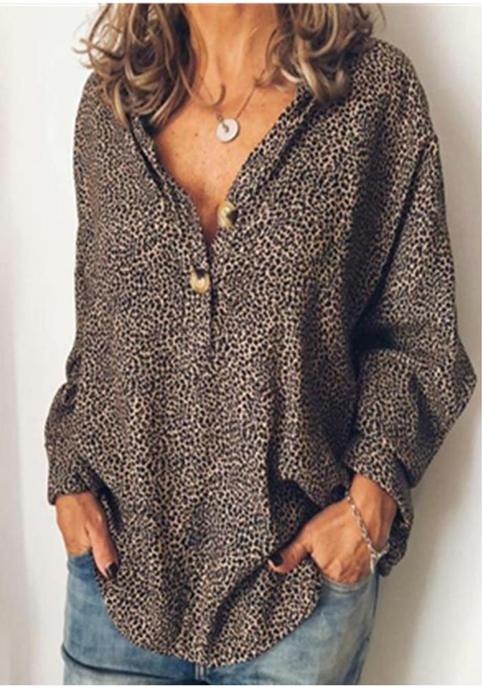 Блузка с длинным рукавом и V-образным вырезом с леопардовым принтом