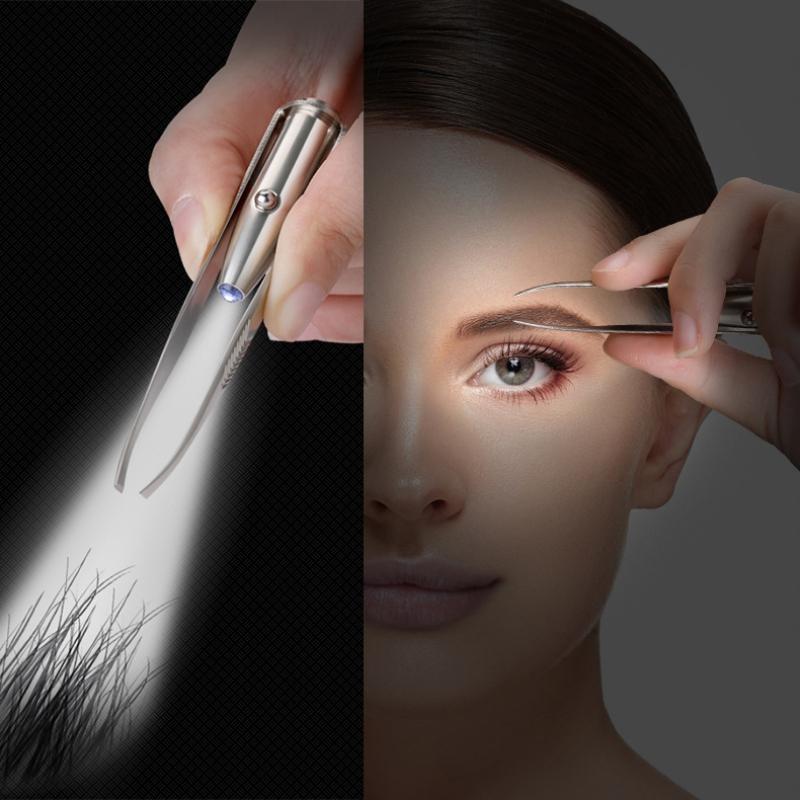 Удаление бровей Волосы LED Пинцет для бровей Нержавеющая сталь Портативный зажим для бровей с подсветкой Макияж Набор