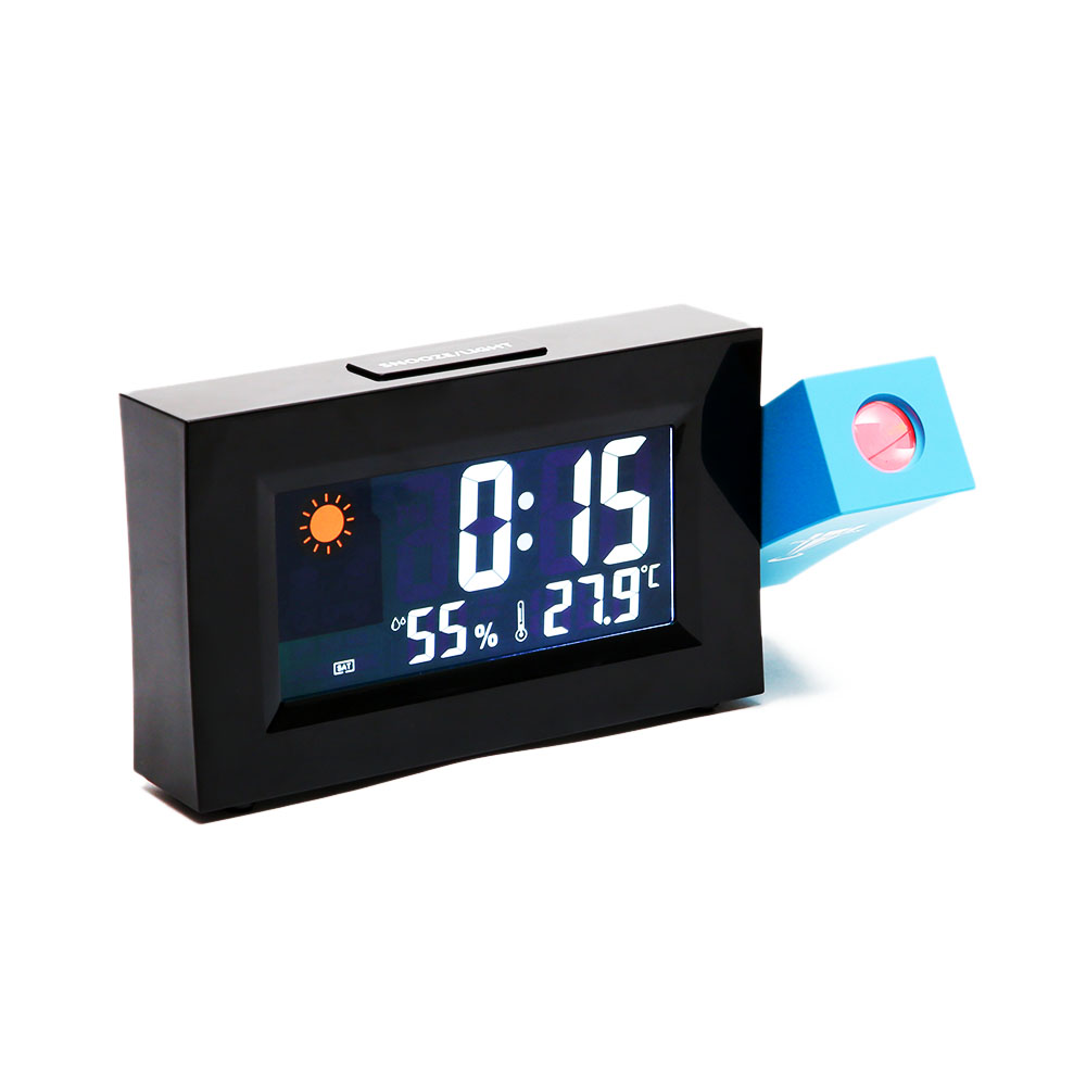 Loskii 8290 Electric LED Weather Forecast Clock With Time Projection Color Screen Dual Power Supply Temperature And Humidity Display Alarm Clock
