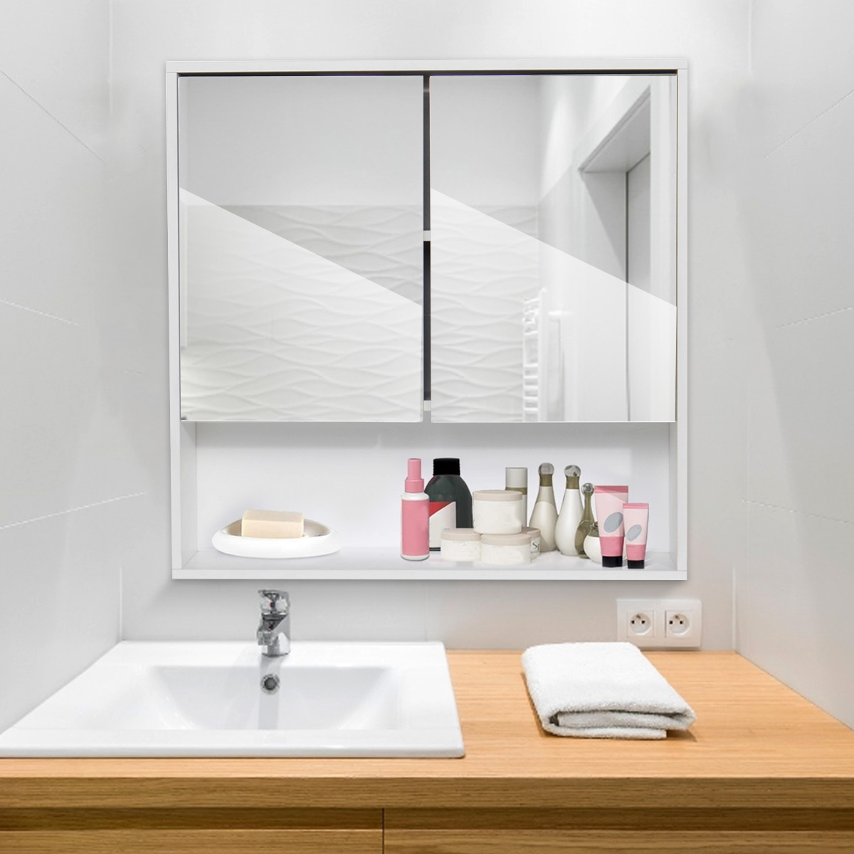 Double mirror bathroom cabinet forehead thermometer fever