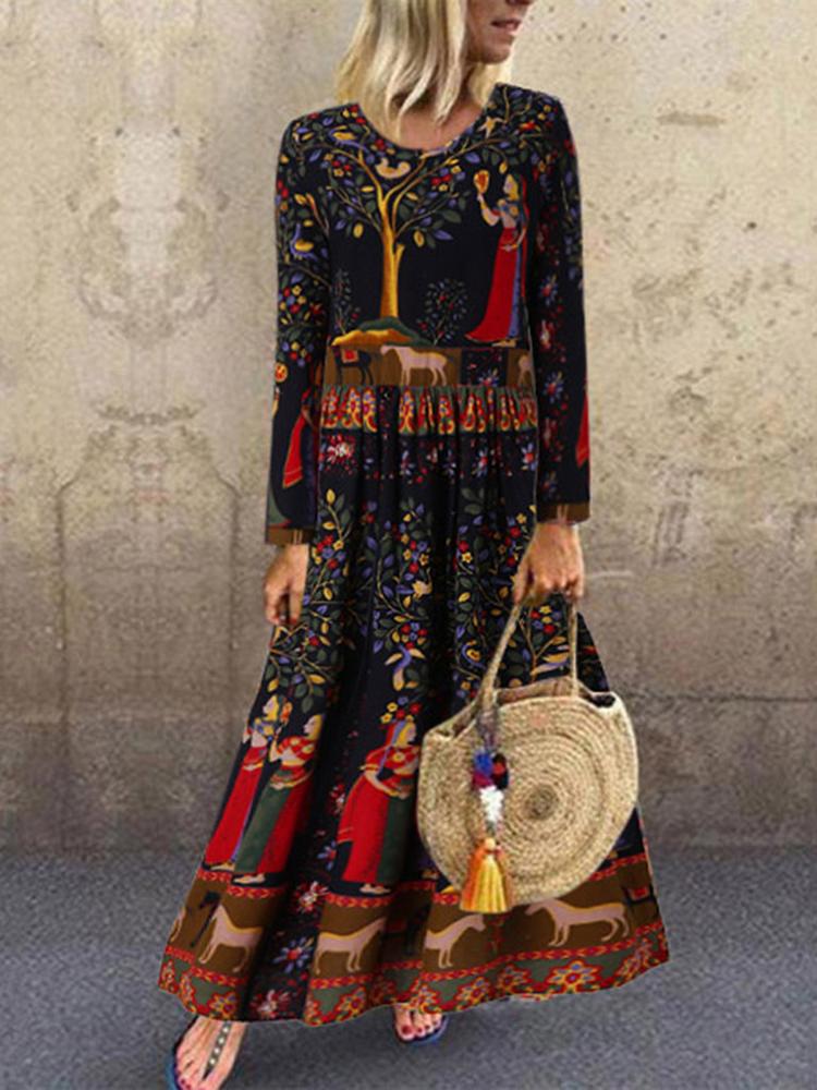 Этнический цветочный принт с длинным рукавом с длинным рукавом Maxi Платье фото