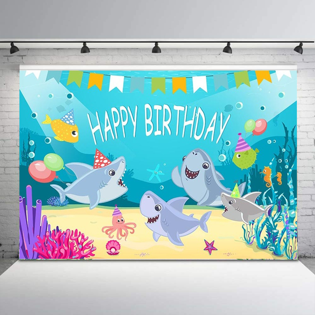 Shark Photography Backdrop Baby Shower Party Birthday Ocean Sea Background Party Decorations