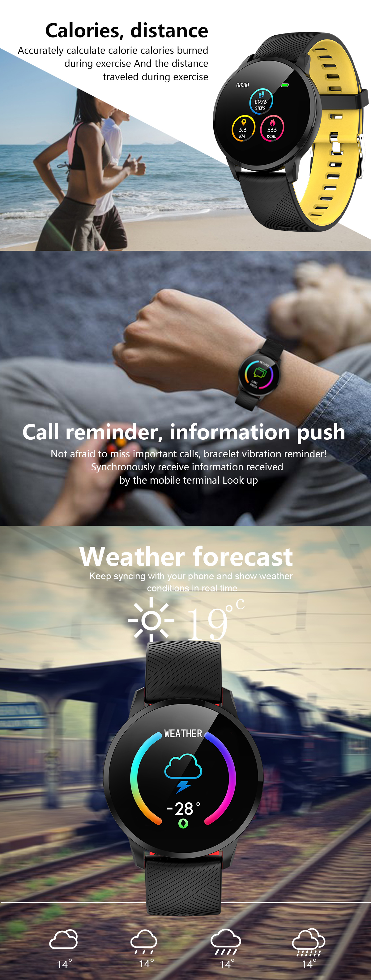 XANES® Y16 1.3'' Touch Screen IP67 Waterproof Smart Watch Weather Information Stopwatch Blood Pressure Oxygen Monitor Sports Fitness Bracelet