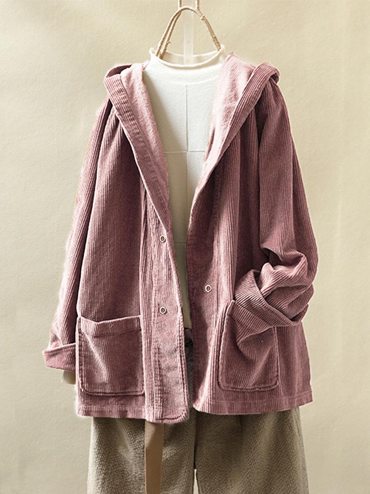Старинные вельветовые карманы с капюшоном Plus размер куртка