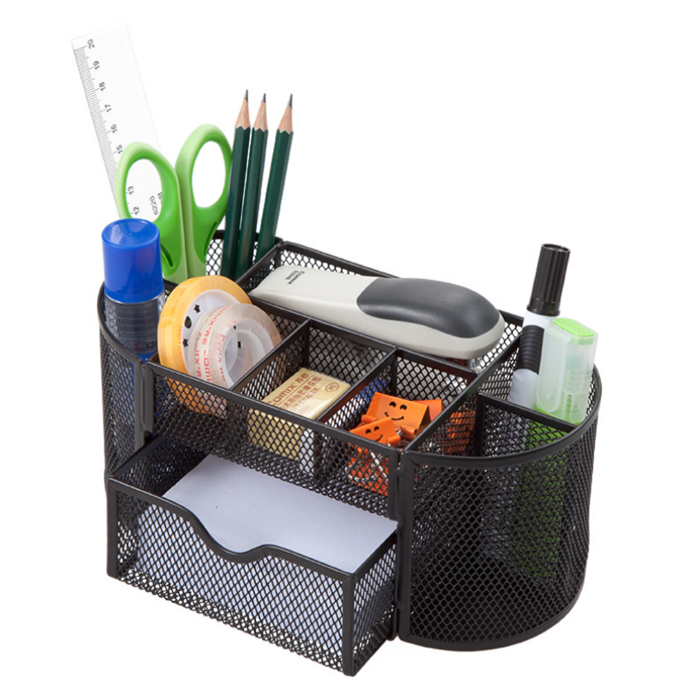 9 Storage Multi-functional Desk Organizer Metal Storage Grid Pen Holder Stationery Container Box Office School Supplies