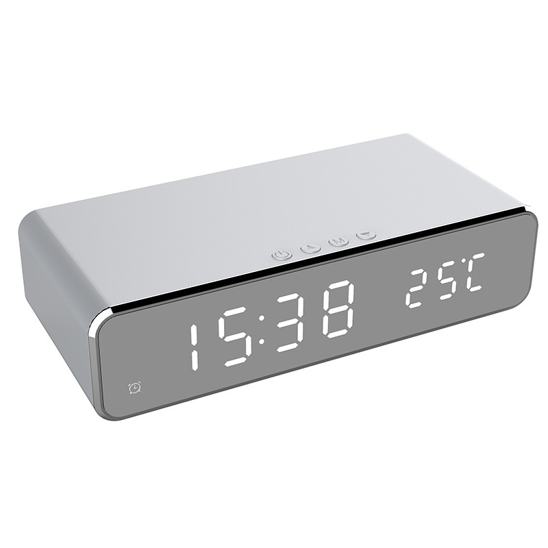 USB Digital LED Desk Alarm Clock With Thermometer And Wireless Charger (Silver) 6
