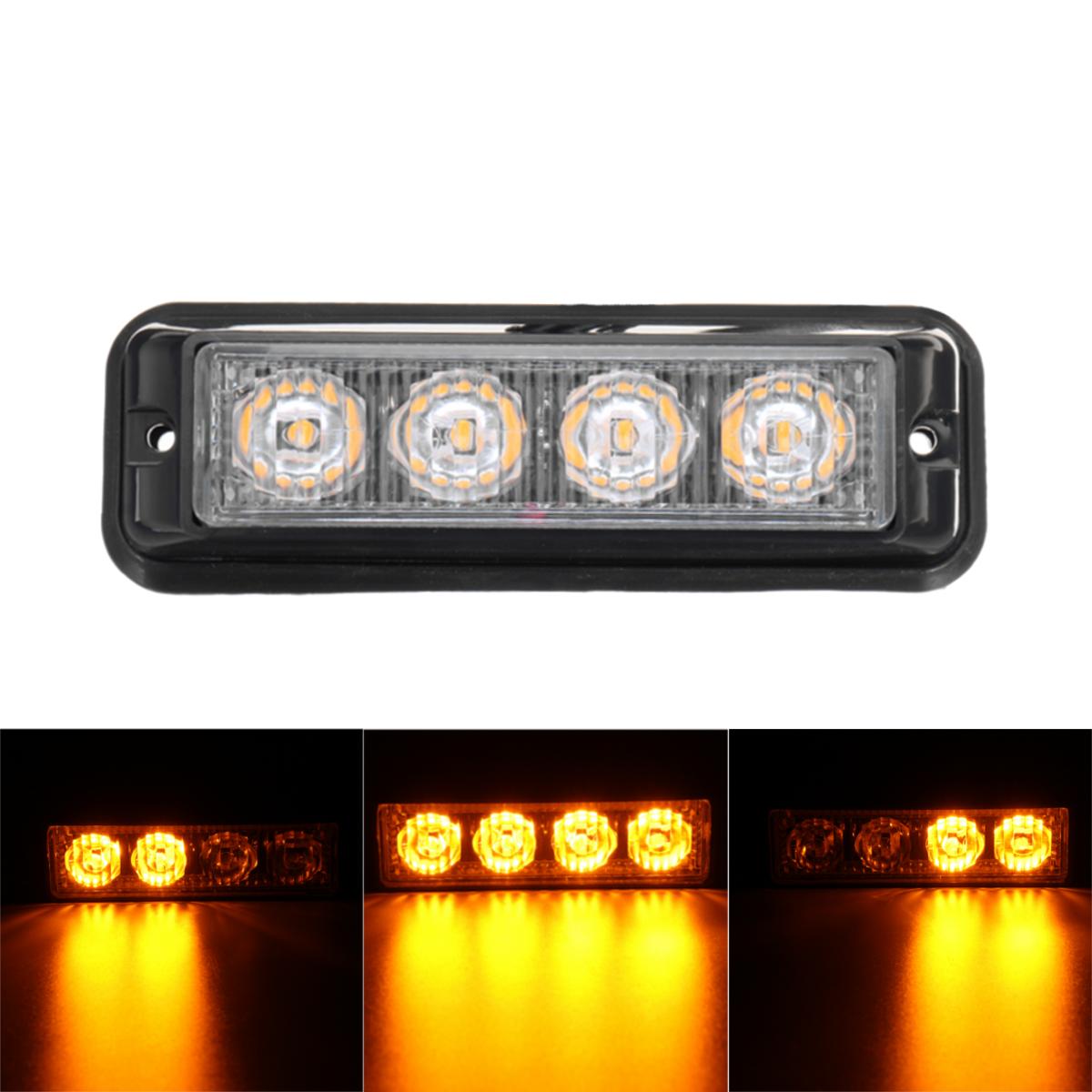 4W LED Strobe Flash Свет бокового маркера Аварийное предупреждение маяка Лампа Желтый 12V-24V для грузовика Авто