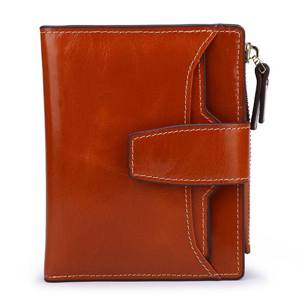 Women Genuine Leather RFID Fold Up Hasp Short Wallet Multi Card Slots