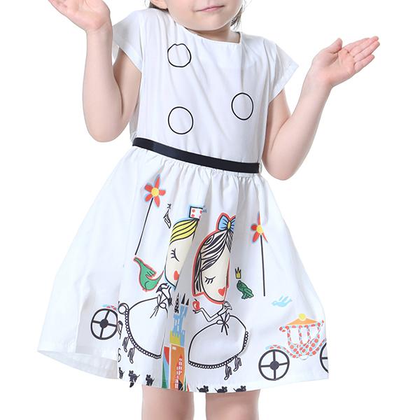 Дети мальчика с коротким рукавом с коротким рукавом, напечатанные Платье