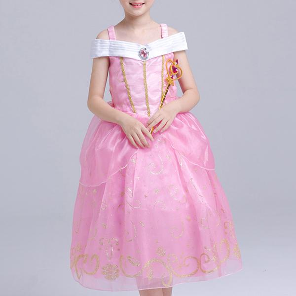 Розовый Kid Girls Off Плечо Лоскутная фантазия Принцесса Платье