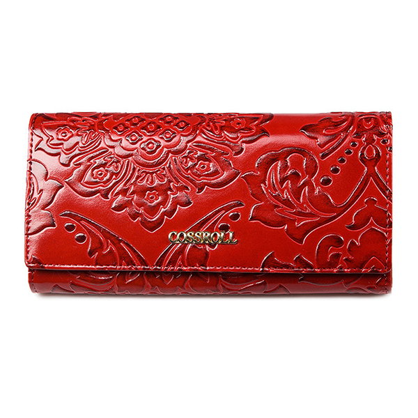 Brenice Women Embossed Long Wallet Chinese Style Hasp Wallet