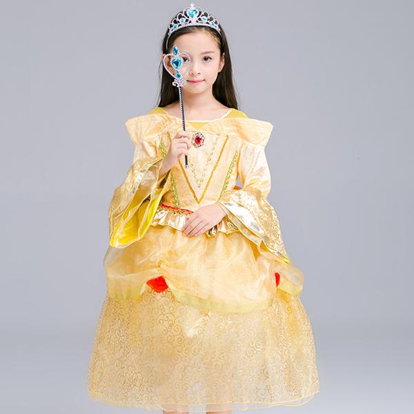 Kid Girls Bell Sleeve O-Neck Необычная принцесса Платье