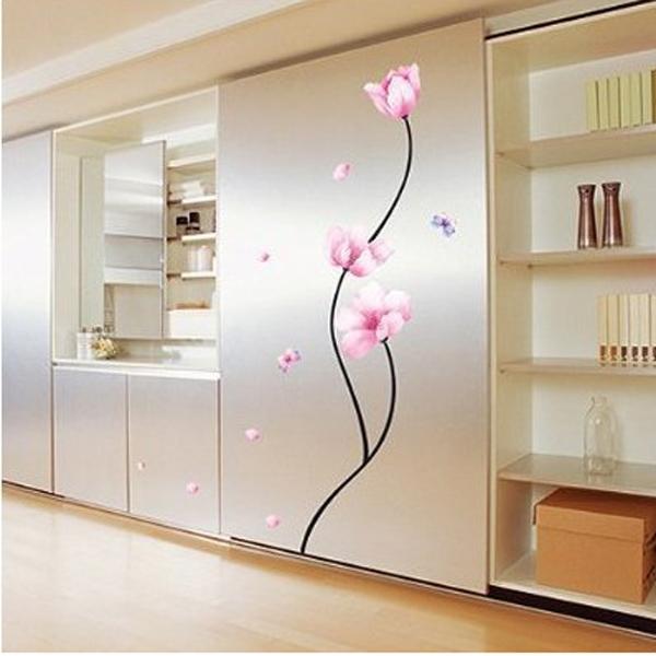 Розовый цветок ПВХ съемный стикер стены декор наклейка стволовых номер