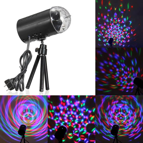 3W RGB Stage Light Лампа Кристалл LED Вращающийся диско-голос активирован