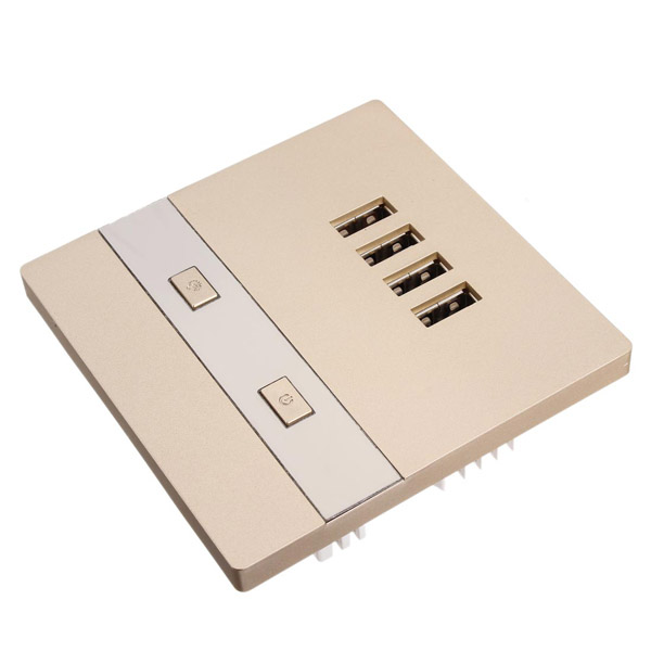 4 USB Charging Wall Socket With LED Luminous Lights Champagne//White