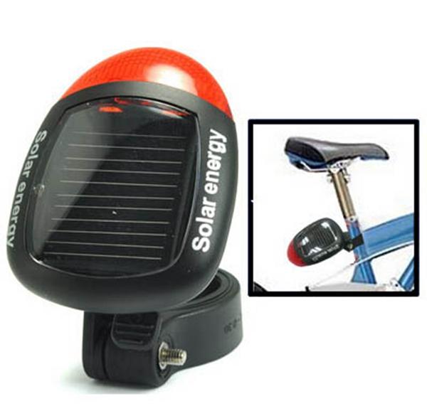 Солнечная энергия велосипеда задний красный 2 LED 4 режима света лампы