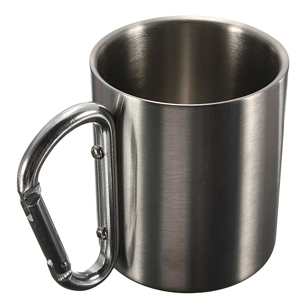 220ml Portable Stainless Steel Mug Camping Cup Carabiner Double Wall