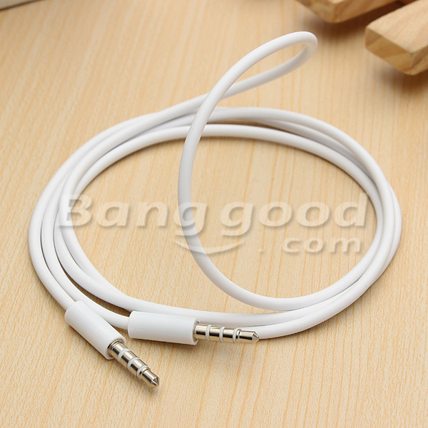 4 Pole 1m 3.5mm Male Record Car Aux Audio Cord Headphone Connect Cable
