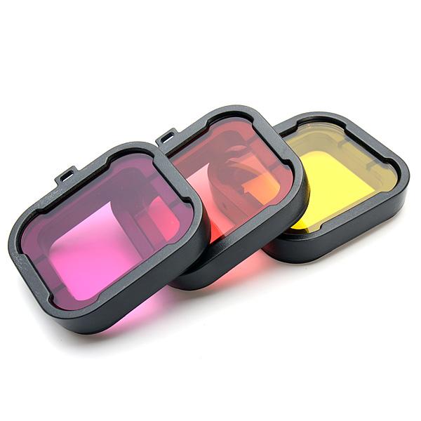 Поляризатор 3 цвета под водой Дайвинг UV Объектив Фильтр для Gopro Hero 3+