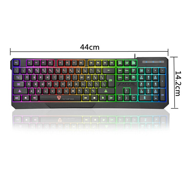 Motospeed K70 Waterproof Colorful LED Illuminated Backlit USB Wired Gaming Keyboard