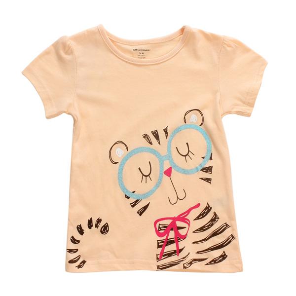К 2015 году новый маленький мэйвен прекрасный кошачий ребенок дети девушки хлопка с коротким рукавом T-рубашка топ