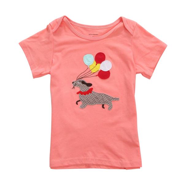 К 2015 году новый маленький мэйвен девочки детская собака красного хлопка с коротким рукавом T-рубашка топ