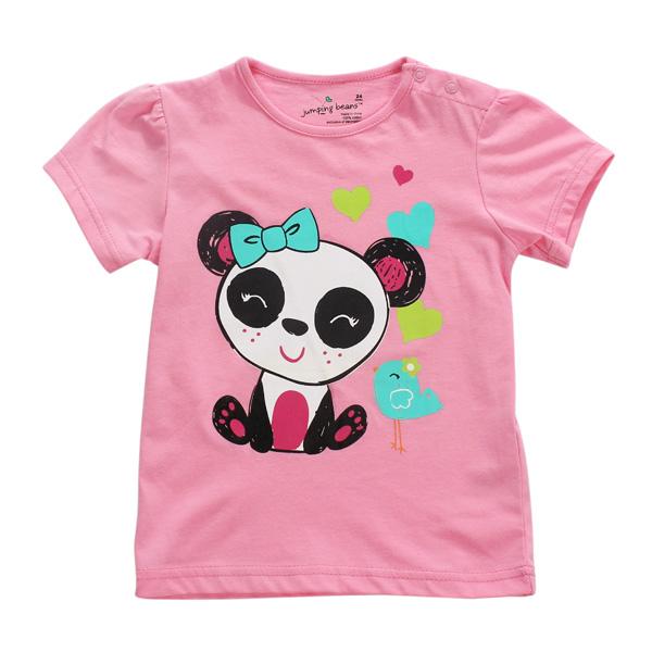 Маленькая девочка Maven Baby Girl Panda Красная хлопчатобумажная футболка с коротким рукавом