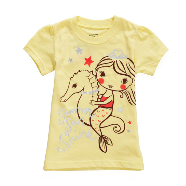 2015 Новый Little Maven Лето Девочка Ребенок Море Лошадь Желтая Хлопок Футболка