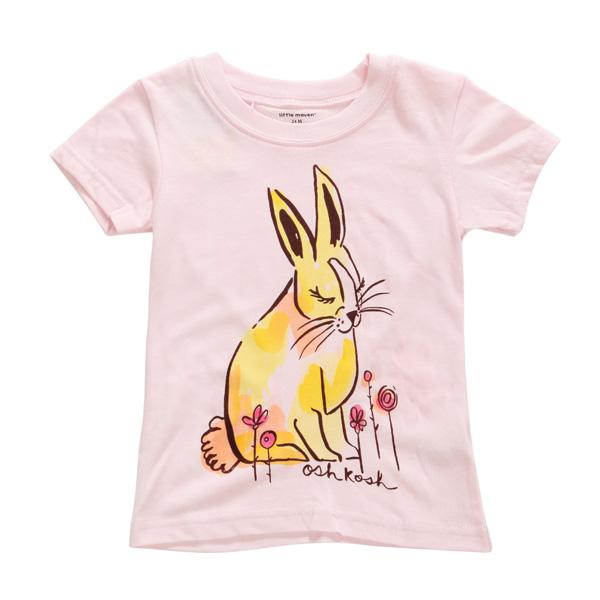 2015 новый маленький мавен лето девочка дети кролик Розовый хлопок с коротким рукавом футболки