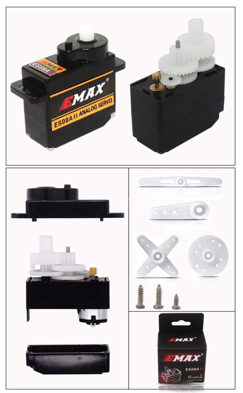 Emax ES08A II Mini Plastic Gear Analog Servo 1.8kg/sec for RC Models