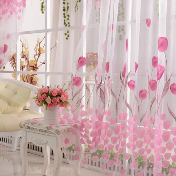 100x200cm мягкого фатина цветок тюльпана экран окна дома сплошное окно занавес