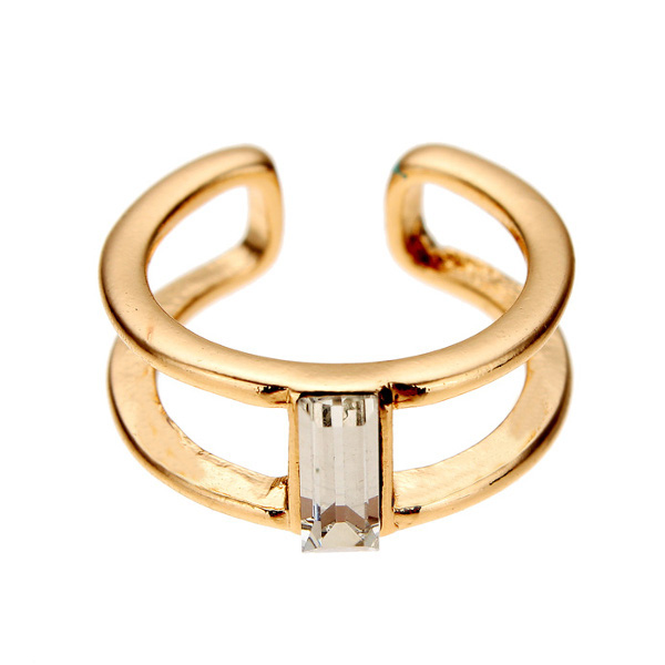 Gold Silver Double Layer Crystal Knuckle Finger Ring