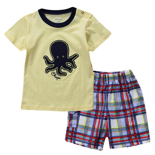 2015 новый прекрасный осьминог желтый ребенок дети мальчик из чистого хлопка с коротким рукавом + шорты костюм