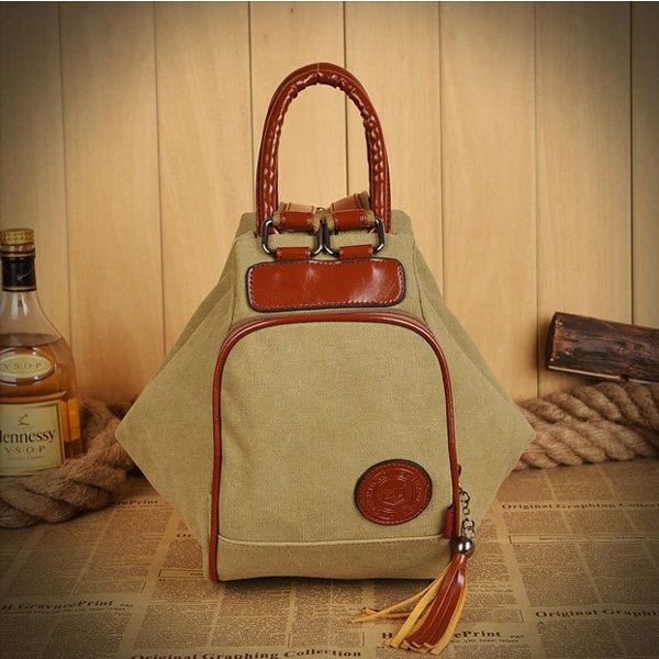 Women Men Canvas Tassel Backpack Casual Diagonal Handbags Multifunctional Shoulderbags