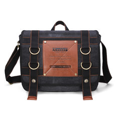 KAUKKO Mens Retro Canvas Travel Shoulder Bag School Messenger Bags