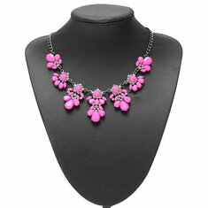 Crystal Flower Pendant Statement Necklace Metal Chain Choker Necklace