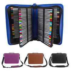 160 Slots PU Art Pencil Case Cosmetic Makeup Bag Storage Stationery Zipper Pouch