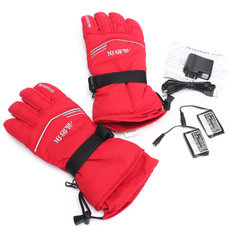 3.7V 2000MA 45° Electric Heated Warmer Gloves Motorcycle Motor Bike Outdoor Skiing Climbing Red M XL