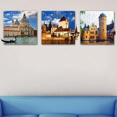 50x50cm 3Pcs Combination PAG DIY Frameless Painting 3D Scene Sticker Oil Paintings Landscape Castle Wall Decor