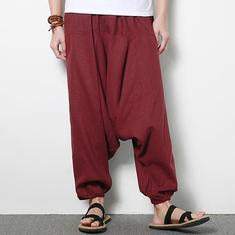 Men's Cotton Linen Harem Pants Casual Baggy Loose Trousers