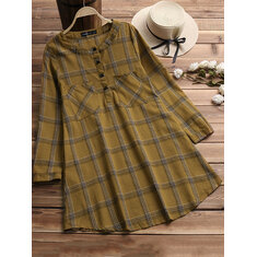 Buttons Turn-Down Collar Plaid Shirt Dress