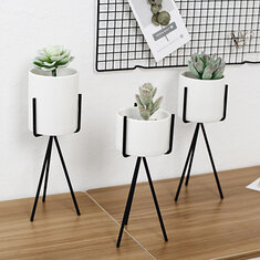 White High Tripod Plant Iron Stand +Ceramic Flower Succulent Pot Display Rack Holder Decor