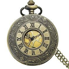 DEFFRUN Retro Steampunk Style Roman Numerals Pocket Watch